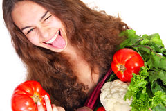 Young woman with vegetables Royalty Free Stock Photo