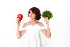 Young woman with vegetables Royalty Free Stock Image