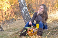 Young woman with vegetables basket outdoor Stock Image