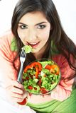 Young woman vegetarian meal isolated portrait. Stock Photography