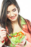 Young woman vegetarian meal isolated portrait. Royalty Free Stock Image