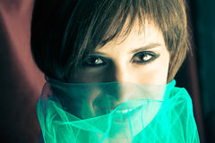 Young woman with veil. Beauty portrait of a young woman with veil Stock Images
