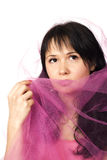 Young woman with veil. Young woman with pink veil Royalty Free Stock Images