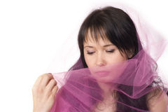 Young woman with veil. Young woman with pink veil Royalty Free Stock Photography