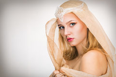 Young woman with a veil. On her head Royalty Free Stock Image