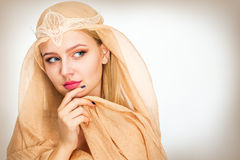 Young woman with a veil. On her head Stock Images