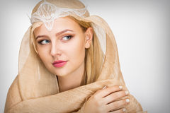 Young woman with a veil. On her head Royalty Free Stock Photography