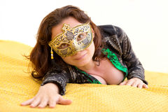 Young woman with venetian mask Stock Photos