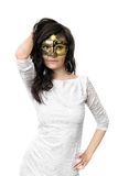 Young woman in Venetian mask Stock Images