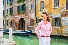 Young woman in venice, italy Royalty Free Stock Image
