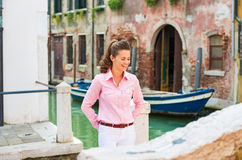 Young woman in venice, italy Royalty Free Stock Photography