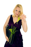 Young woman with verdure Stock Photo