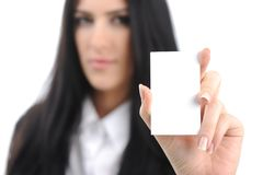 Young woman with vertical  bussiness card Royalty Free Stock Photos