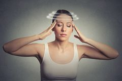 Young woman with vertigo dizziness stock photos