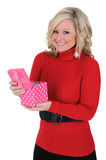 Young Woman Very Happy With Her Gift. Royalty Free Stock Photo