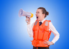 Young woman with vest and loudspeaker on white Stock Photos