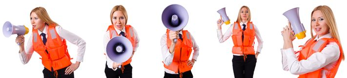 The young woman with vest and loudspeaker on white Stock Photo