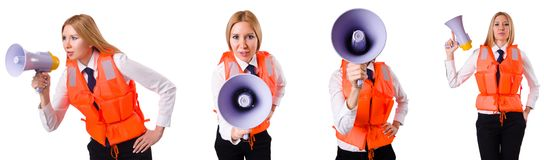 The young woman with vest and loudspeaker on white Royalty Free Stock Images