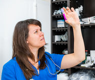 Young woman vet doctor. Examines the analysis Royalty Free Stock Image