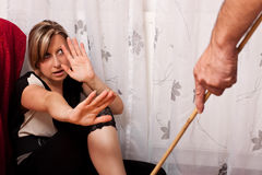 Young woman is a victim of domestic violence Stock Photos