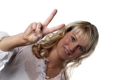 Young woman victory sign Royalty Free Stock Images
