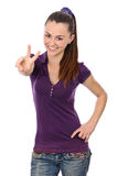 Young woman victory sign Stock Photos