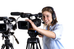Young woman with a video camera Stock Image