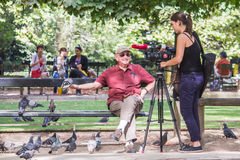 Young woman videographer films older man feeding pigeons in Luxe Stock Images
