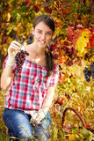 Young woman in vineyard Royalty Free Stock Images