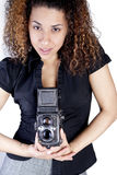 Young Woman with Vintage Camera Stock Images