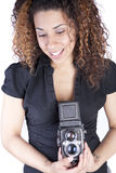 Young Woman with Vintage Camera Royalty Free Stock Photography