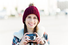 Young woman with vintage camera Royalty Free Stock Photo
