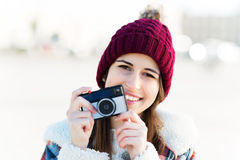 Young woman with vintage camera Royalty Free Stock Photos