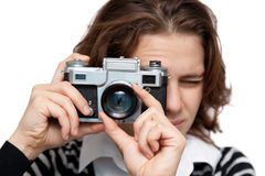 Young woman with vintage camera Stock Photography