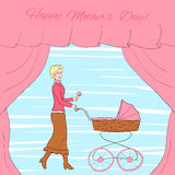 Young woman in vintage clothes with a retro style stroller, frame decorated with curtains, eps10 vector illustration Stock Photography