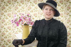 Young woman in  vintage costume 1900s Stock Photo