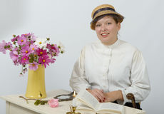 Young woman in vintage costume 1900s Stock Photography