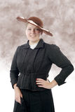 Young woman in  vintage costume 1900s Royalty Free Stock Photography
