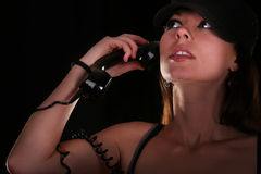 Young woman with vintage telephone Stock Photos