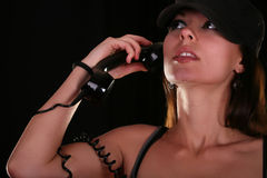 Young woman with vintage telephone Stock Images