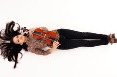 young woman with violin Royalty Free Stock Photos