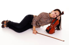 young woman with violin Stock Images