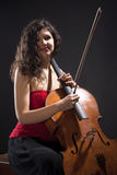 Young Woman with Violoncello Royalty Free Stock Images
