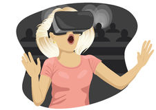 Young woman with virtual reality goggles in cinema vector illustration