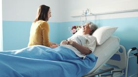 Free Young Woman Visiting Her Grandmother At The Hospital Stock Image - 177798231
