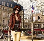Young woman visiting Paris stock illustration