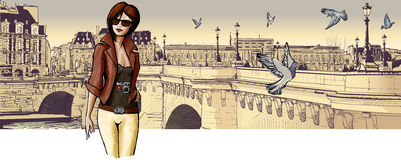 Young woman visiting Paris. Vector illustration Royalty Free Stock Image
