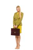 Young woman in vivid jacket and with briefcase Royalty Free Stock Image
