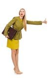 Young woman in vivid jacket and with briefcase Stock Photo
