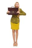 Young woman in vivid jacket and with briefcase. Isolated on white Royalty Free Stock Photography